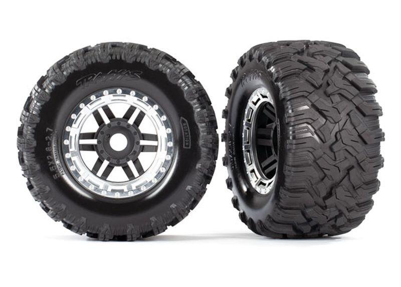 Reifen auf Felge montiert Felge schwarz/satin chrom Maxx AT-