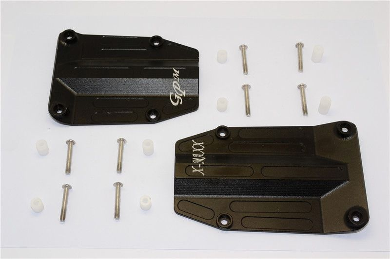 ALUMINIUM CENTRE SKID PLATE - 2PCS SET black