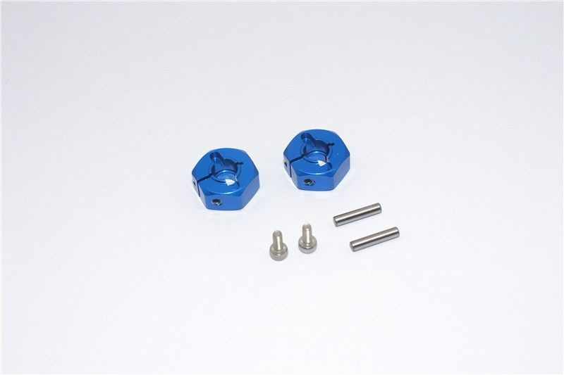 ALUMINIUM REAR WHEEL HEX ADAPTER  - 2PCS SET blue