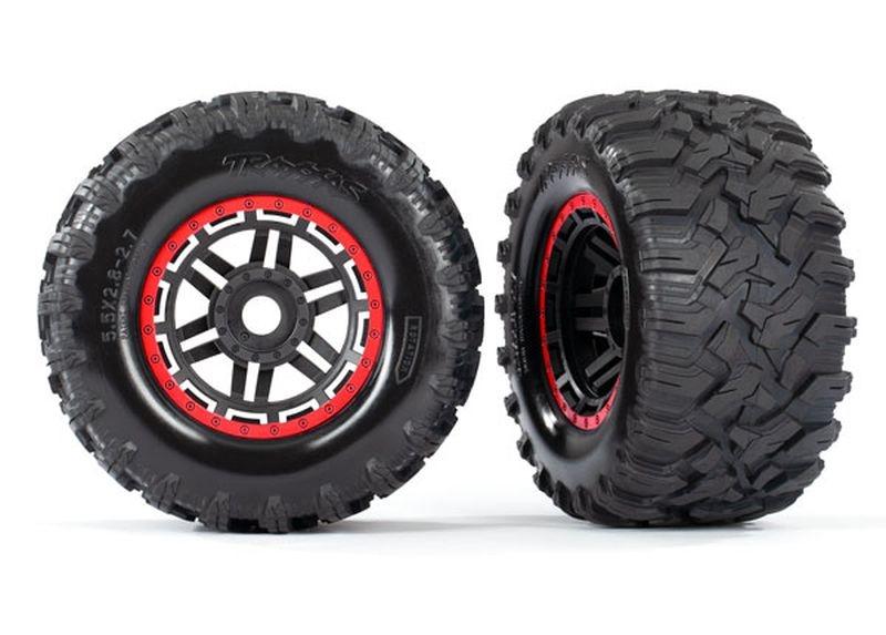 Reifen auf Felge montiert Felge schwarz/rot Maxx All-Terrain