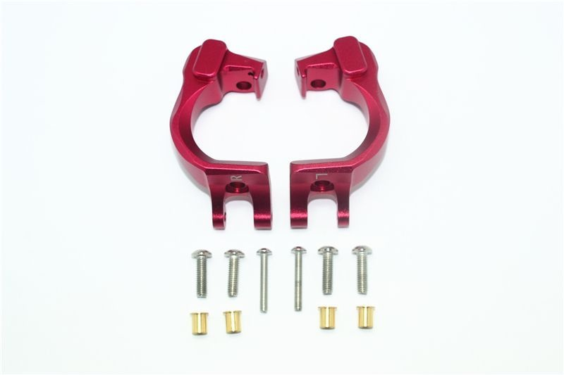 ALUMINUM FRONT C HUBS -12PC SET red