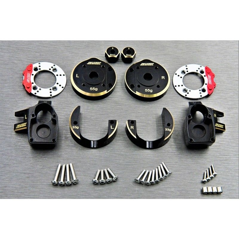 SAMIX SCX10-3 brass heavy steering knuckle & portal coverset