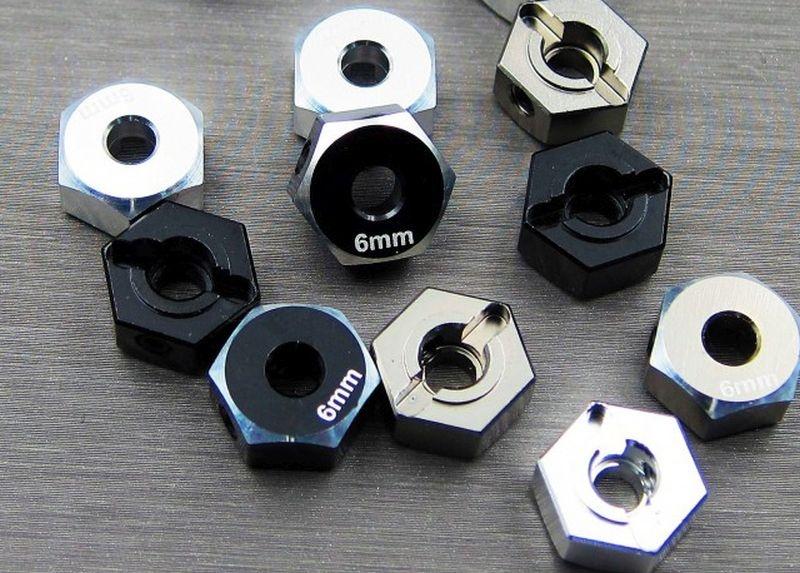 SAMIX SCX10-2 alum black hex adaptar (6mm)