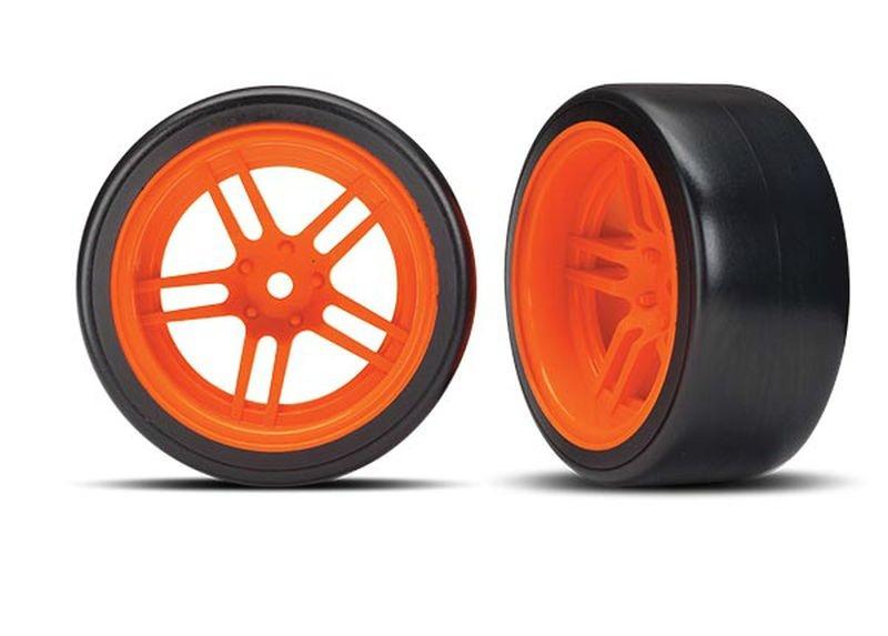 Reifen auf Felgen verklebt Split-Spoke Felge orange hinten