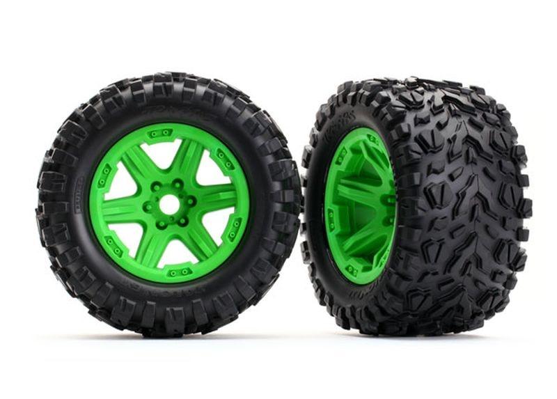Reifen auf Felge grün montiert (Talon EXT 3.8)