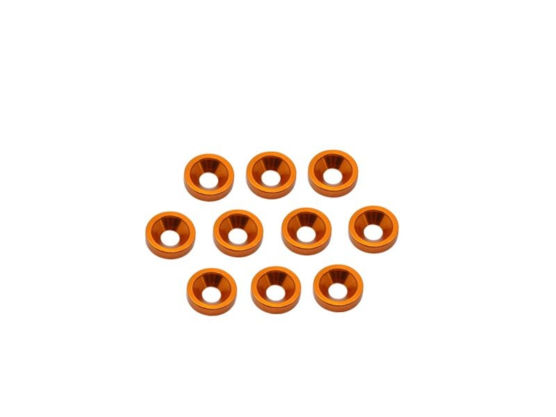 Alu M3 Countersink Washer-Orange (10)