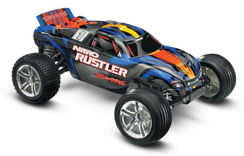 TRAXXAS Nitro-Rustler blau 2.4GHz +12V-Lader +TSM