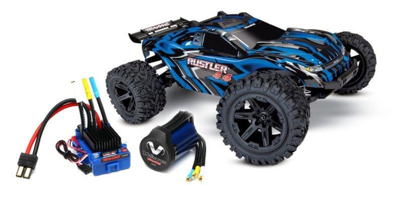TRAXXAS Rustler 4x4 blau RTR +12V-Lader+Akku +BL-Upgrade