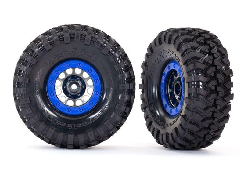 Reifen auf Felge Method 105 1.9 schwarz/chrome beadlock blau