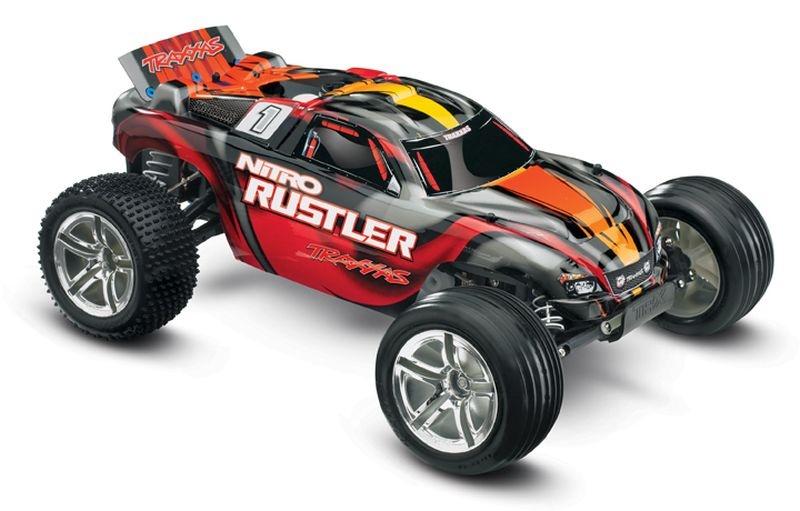 TRAXXAS Nitro-Rustler rot 2.4GHz +12V-Lader +TSM