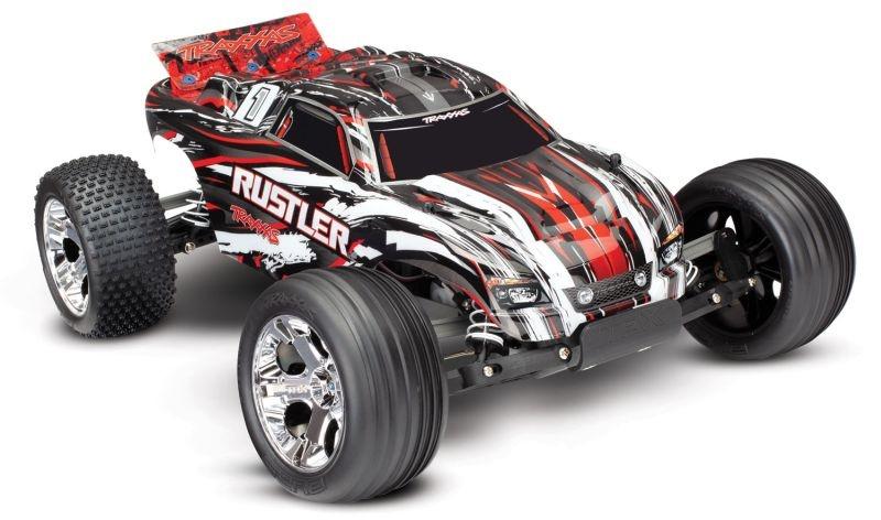TRAXXAS Rustler rot-X RTR +12V-Lader+Akku