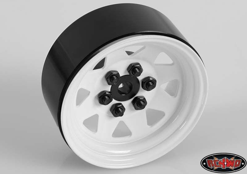 6 Lug Wagon 1.9 Steel Stamped Beadlock Wheels (White)