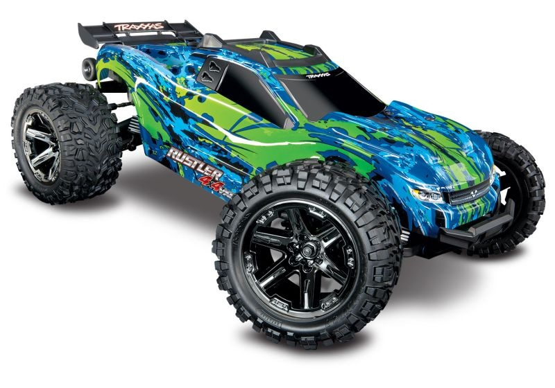 TRAXXAS Rustler 4x4 VXL grün/blau RTR ohne Akku/Lader