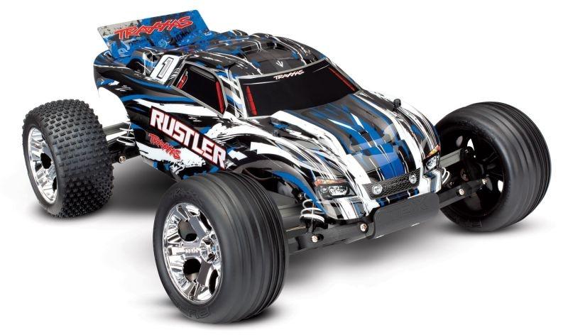 TRAXXAS Rustler blau-X RTR +12V-Lader+Akku
