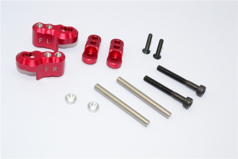 ALUMINIUM FRONT ADJUSTABLE SHOCK MOUNT - 1SET red