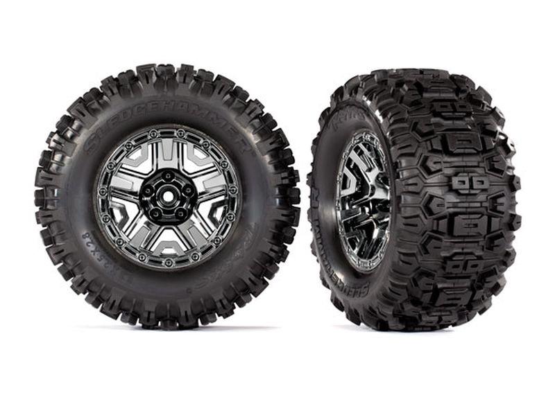 Reifen auf Felgen schwarz-chrome 2.8 Sledgehammer+Einlagen (