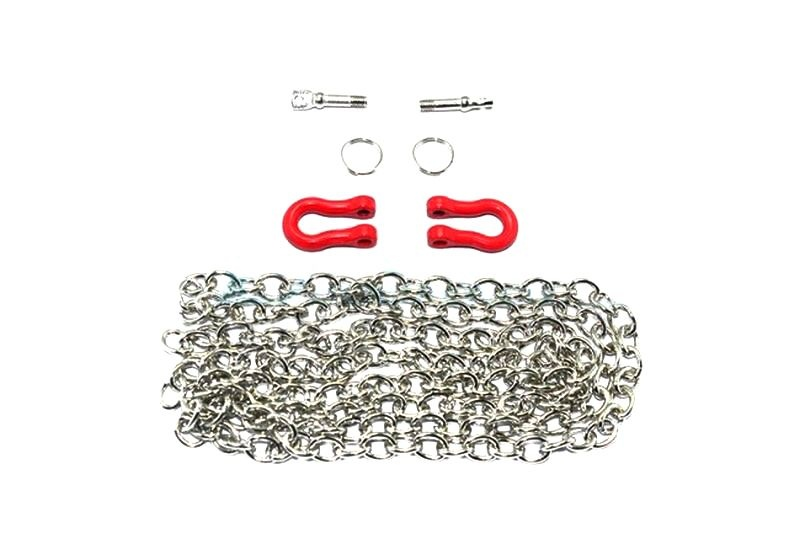 SCALE ACCESSORIES: METAL TOWING RINGS W/CHAIN CRAWLERS -7PCS