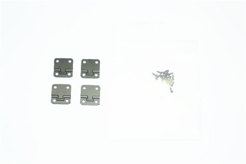 SCALE Acs stnl-steel DOOR HINGES TRX-4 DEFENDER-20PCS black