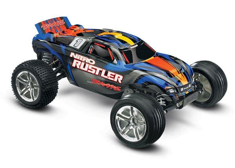 TRAXXAS Nitro-Rustler S-blau 2.4GHz +12V-Lader +TSM