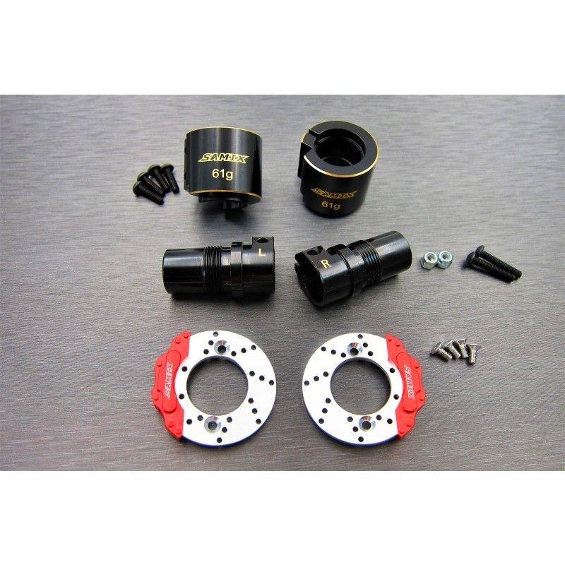 SAMIX SCX10-2 brass rear lockout & rear brake adapter