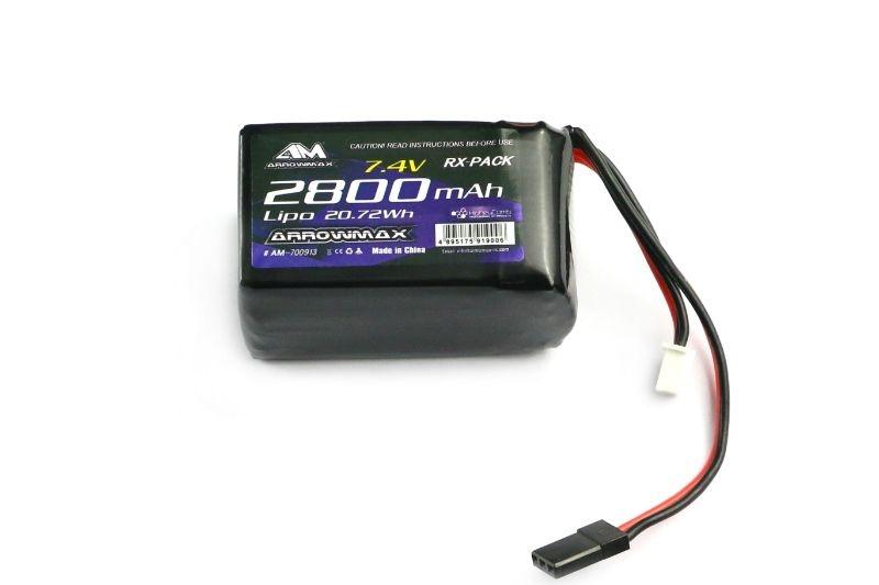 AM Lipo 2800mAh 2S RX 7.4V  Hump Pack