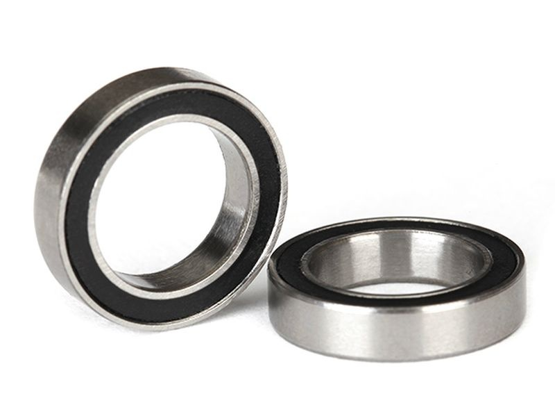 Ball bearings, black rubber sealed (12x18x4mm) (2)