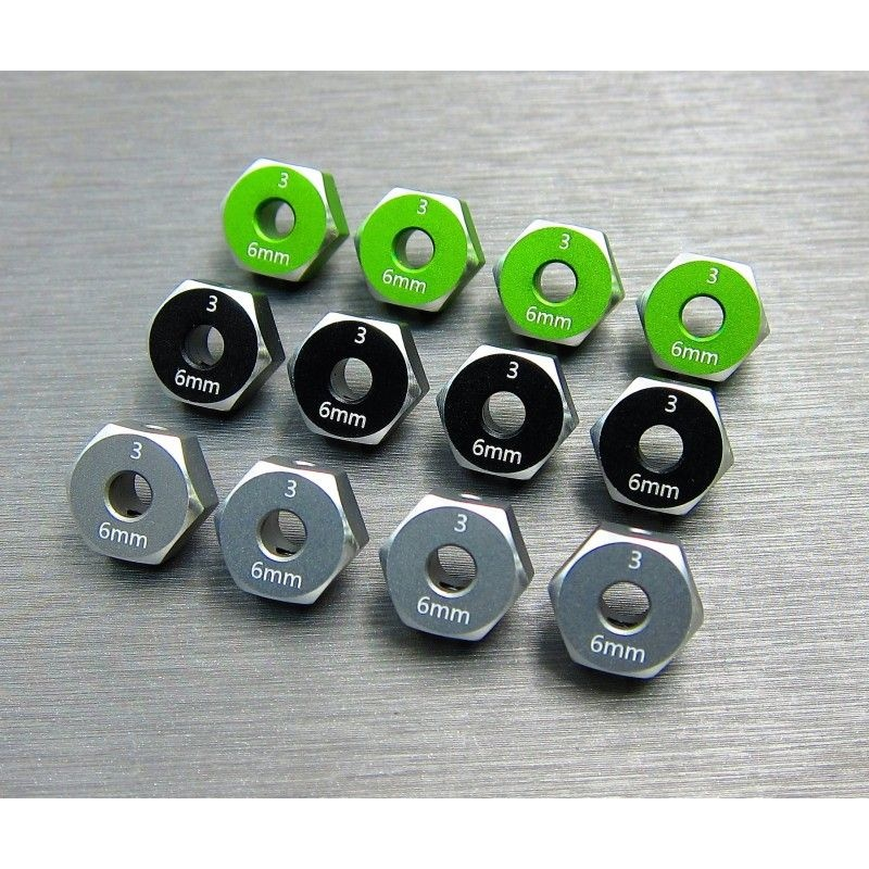 SAMIX SCX10-3 alum hex adaptar (6mm) black
