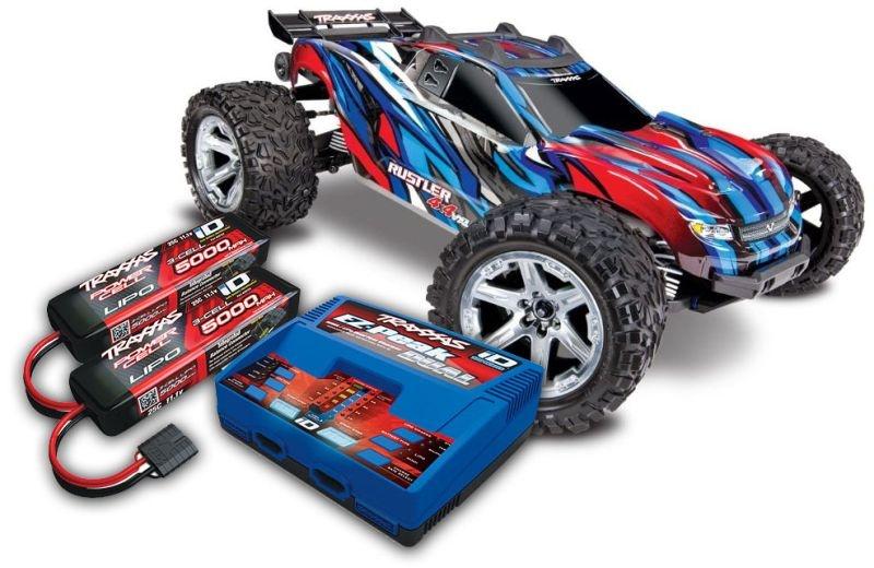 TRAXXAS Rustler 4x4 VXL blau RTR mit Akku/Lader-SET *AKTION*