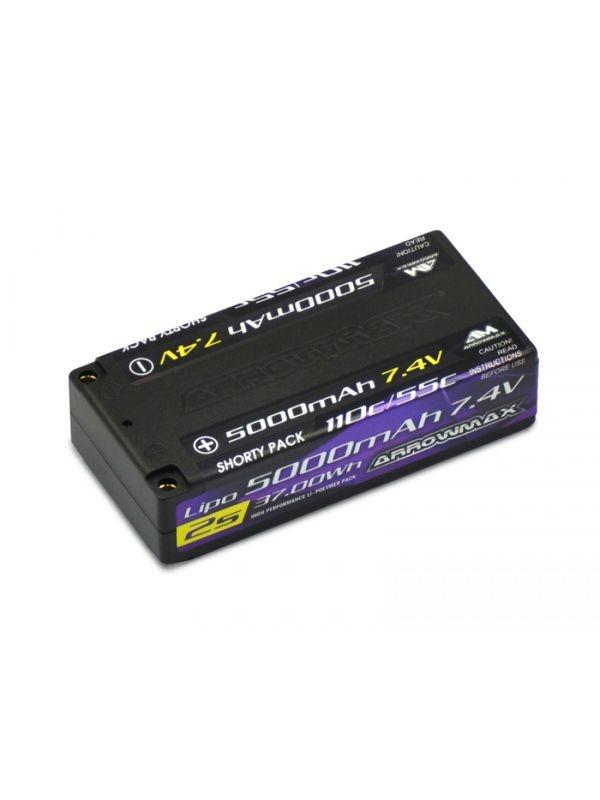 AM Lipo 5000mAh 2S Shorty - 7.4V 55C Continuos 110C Burst