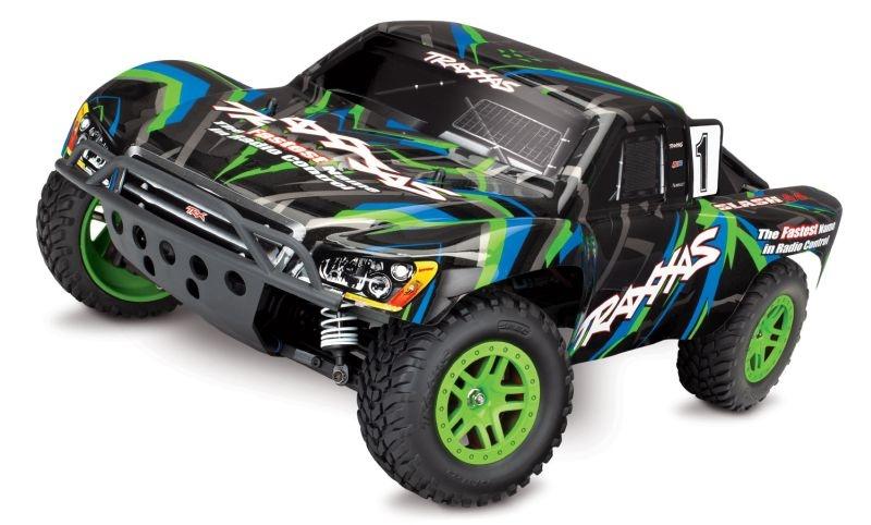 TRAXXAS Slash 4x4 grün/blau RTR +12V-Lader+Akku