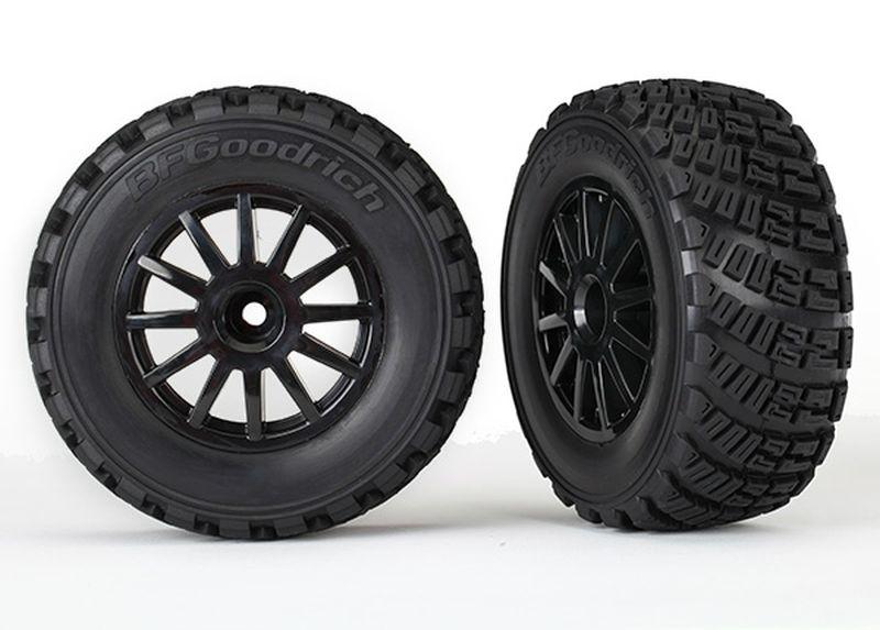 Tires & wheels, assembled, glued (black wheels, gravel patte