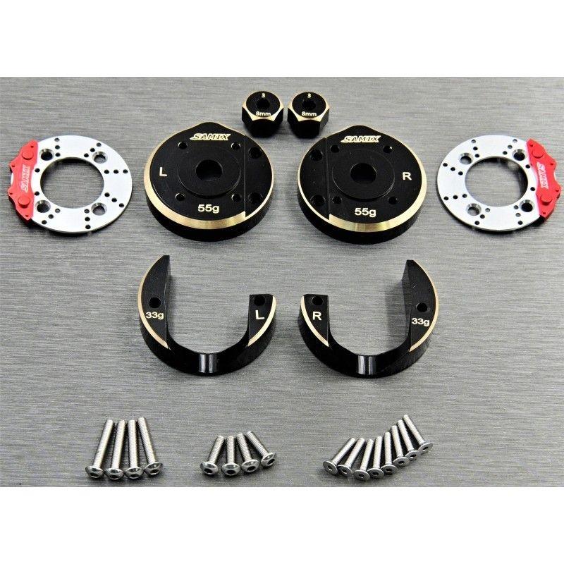 SAMIX SCX10-3 brass portal cover set & scale brake rotor