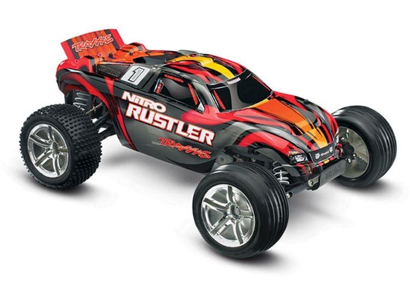 TRAXXAS Nitro-Rustler S-rot 2.4GHz +12V-Lader +TSM