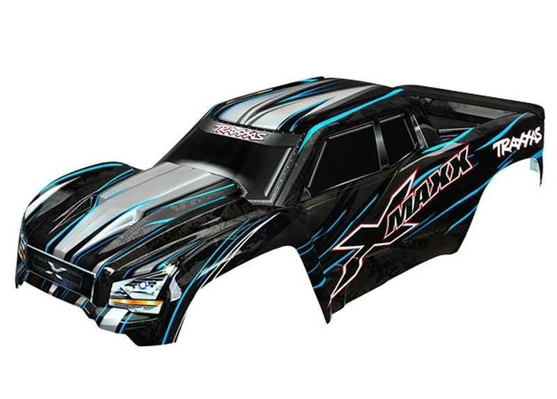 Body, X-Maxx, blue (painted, decals applied) (assembled with