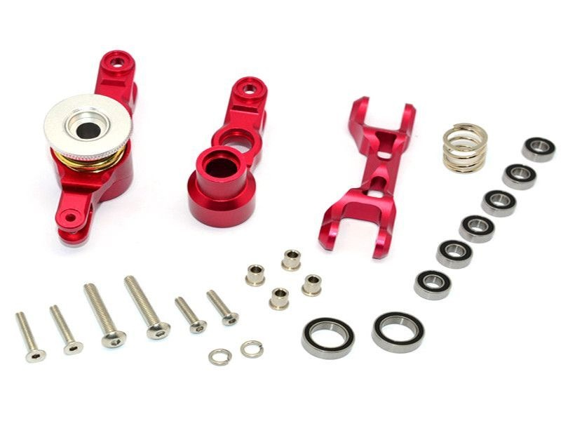 ALUMINIUM STEERING ASSEMBLY - 1SET red