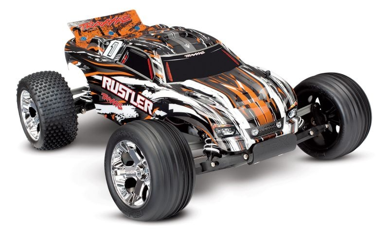 TRAXXAS Rustler orange RTR +12V-Lader+Akku