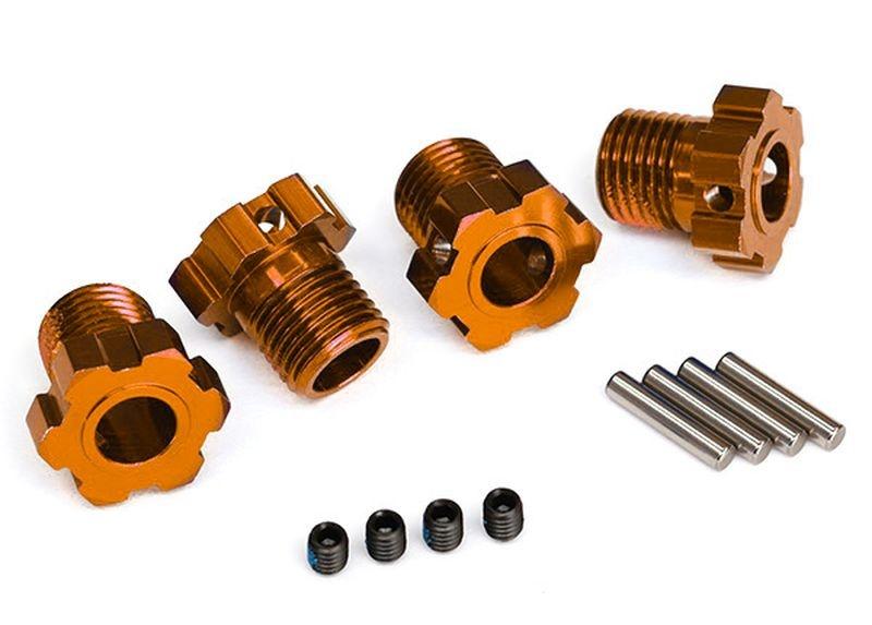 Radmitnehmer splined 17mm (orange-eloxiert) (4) + Gewindesti