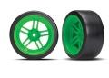 Reifen auf Felgen verklebt Split-Spoke Felge grün hinten