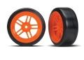 Reifen auf Felgen verklebt Split-Spoke Felge orange vorn
